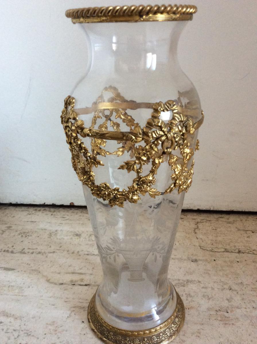 vase cristal monture bronze dor e vases et objets en verre. Black Bedroom Furniture Sets. Home Design Ideas