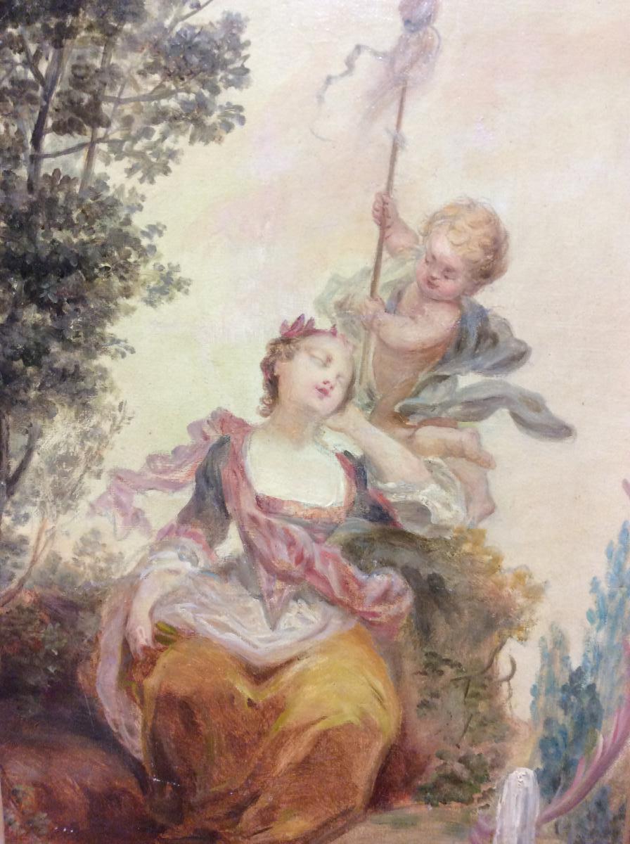 Huile Sur Toile , Scéne  Romantique, 1900