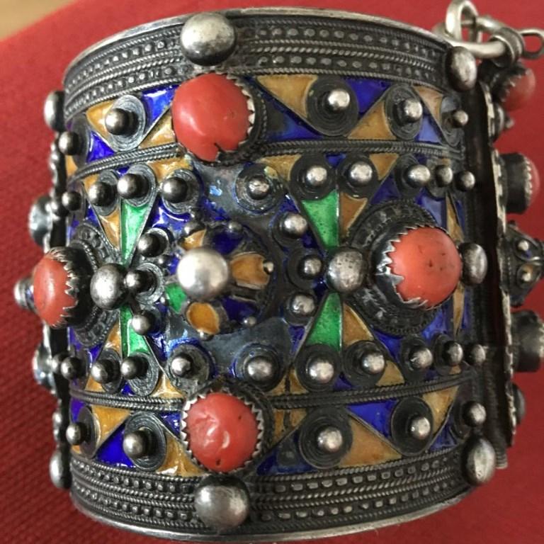 Bracelet Berbère Kabyle en Argent, Corail Et émail XIX ème
