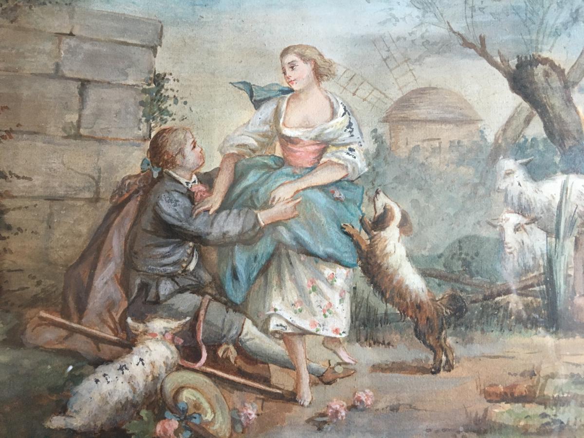 Aquarelle Scène Galante , XIXème