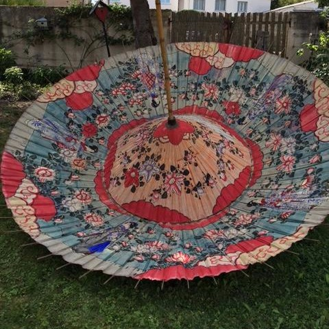 Très Grand Parasol Peint (350 cm) Ombrelle, Japon XIXème