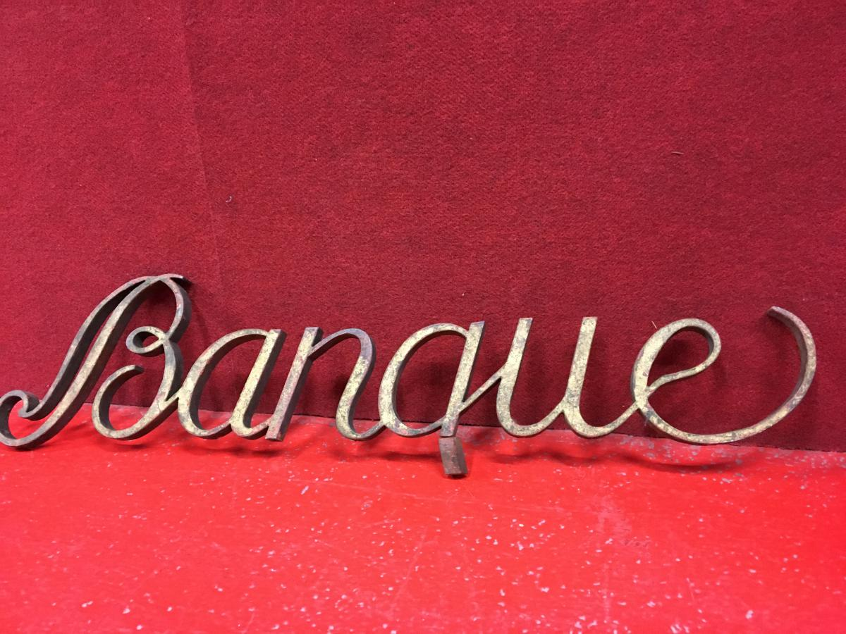 Antique Sign In Wrought Iron Gilded, Nineteenth