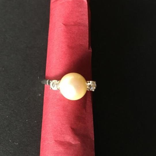 Bague Or Blanc, Perle Et Brillants