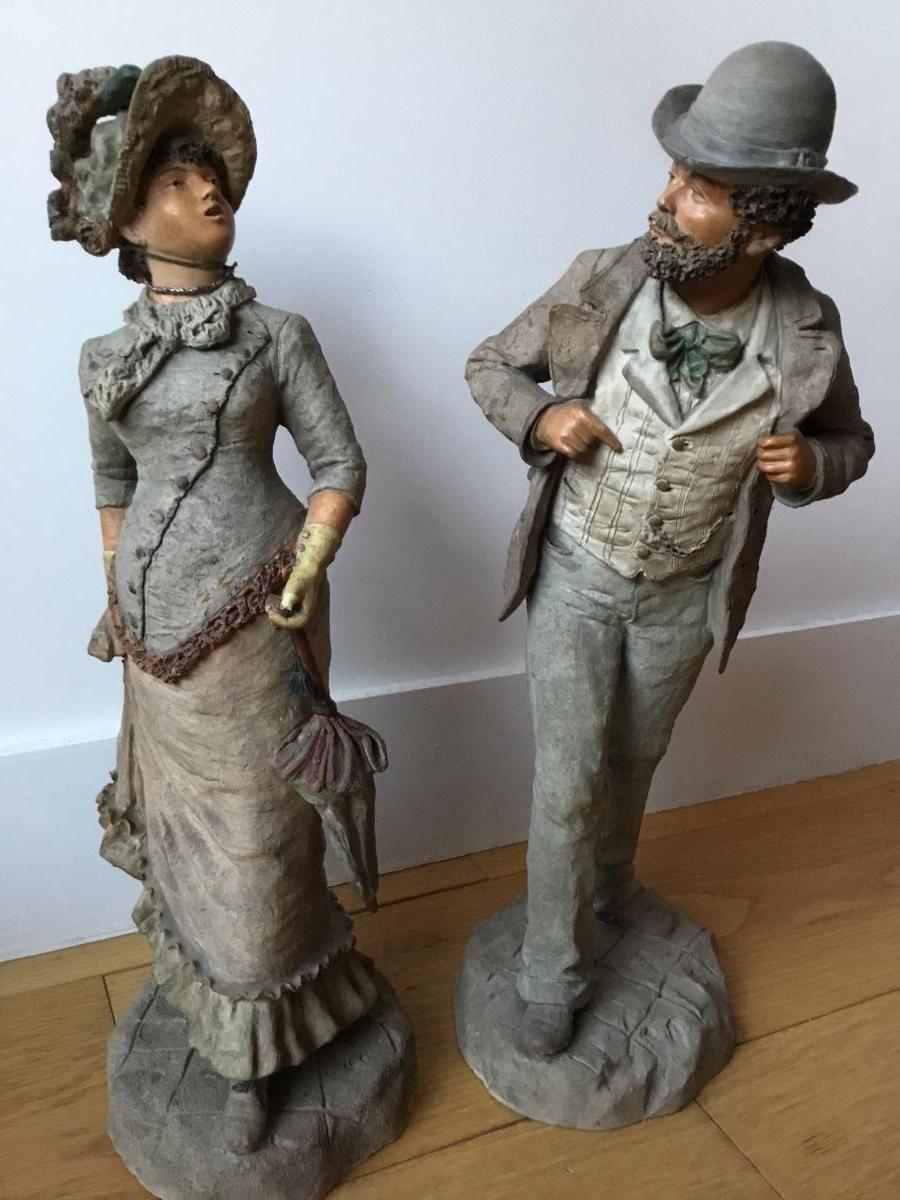 Couple En Terre Cuite Blanche, époque 1900
