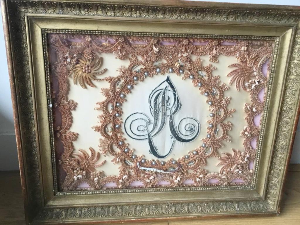 Grande Paperolle Monogrammée, cadre à palmettes, Fin XVIIIème