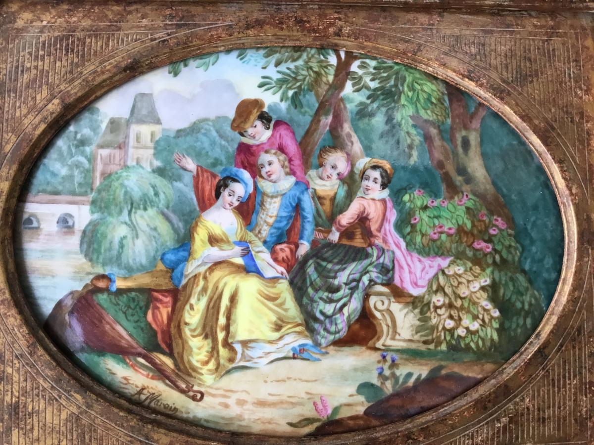 Tableau Sur Plaque De Porcelaine, Encadré, XXème