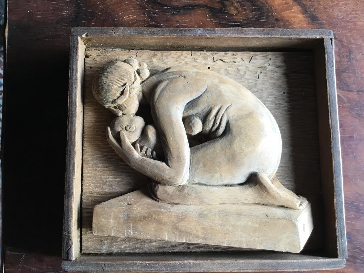 Maternité' Sculpture Sur Bois, époque Art Déco