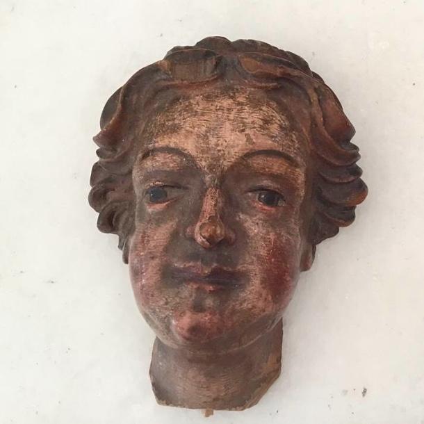 Tête D'angelot, Bois Sculpté Polychrome, 19ème