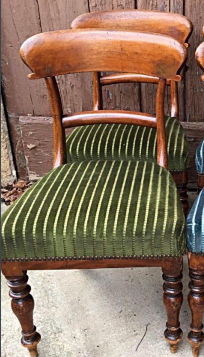 Paire de Chaises  vertes Anglaises En Acajou, XIXème