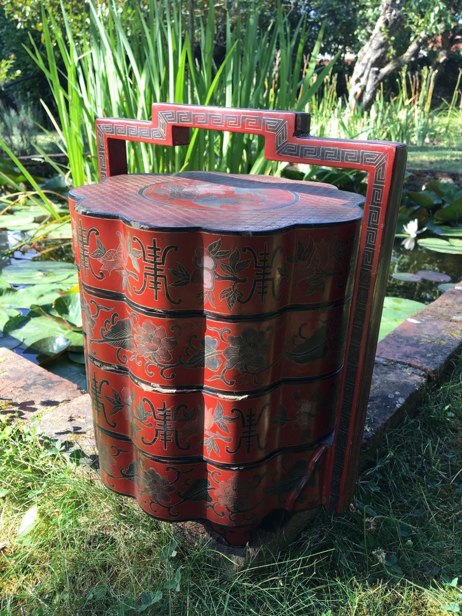 Boite à Picnic En Laque Rouge, Chine, XIXème