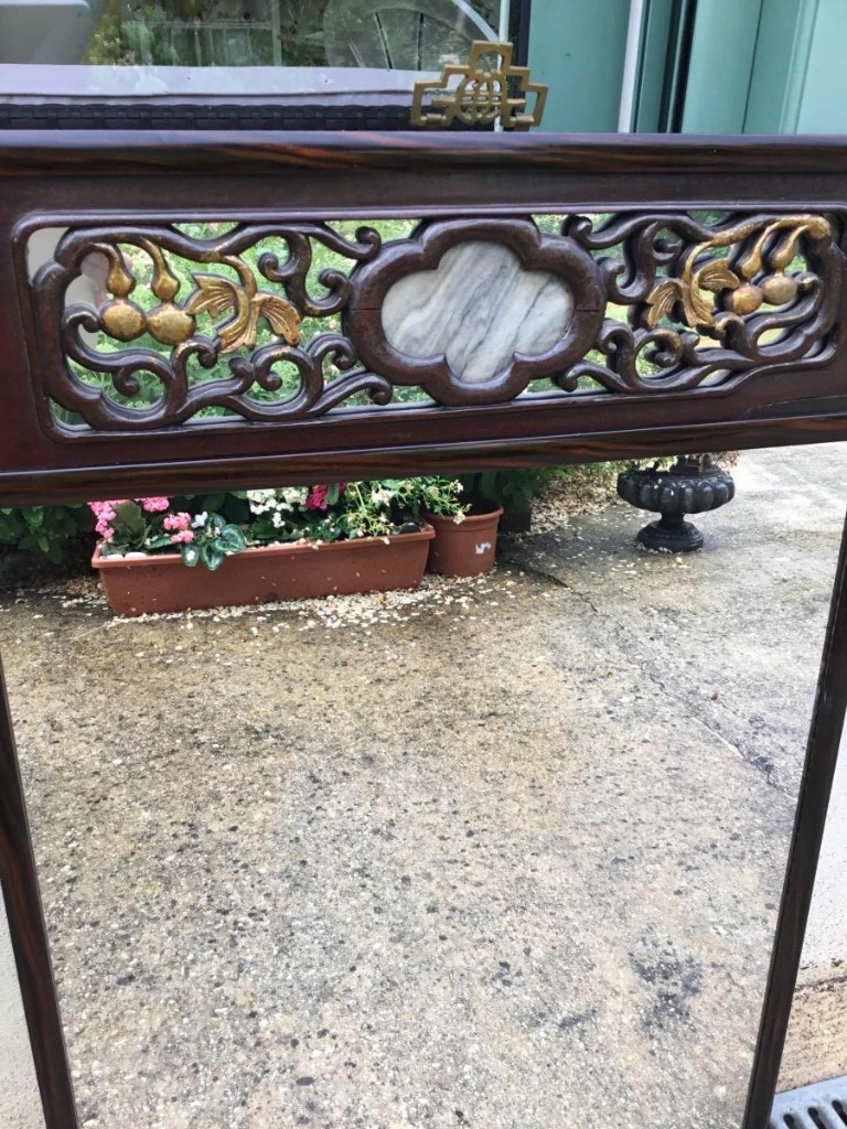 Miroir chinois incrustation de marbre