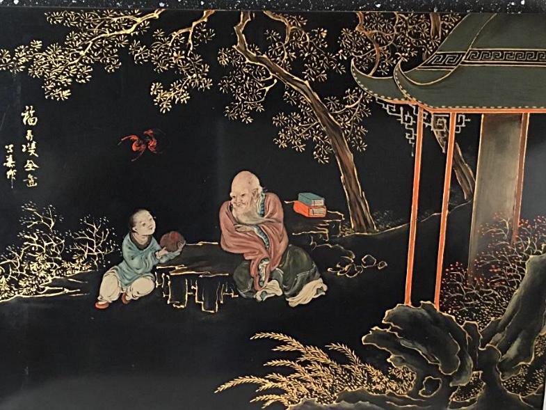 Panneau De Laque Peint, Chine, Debut XXème