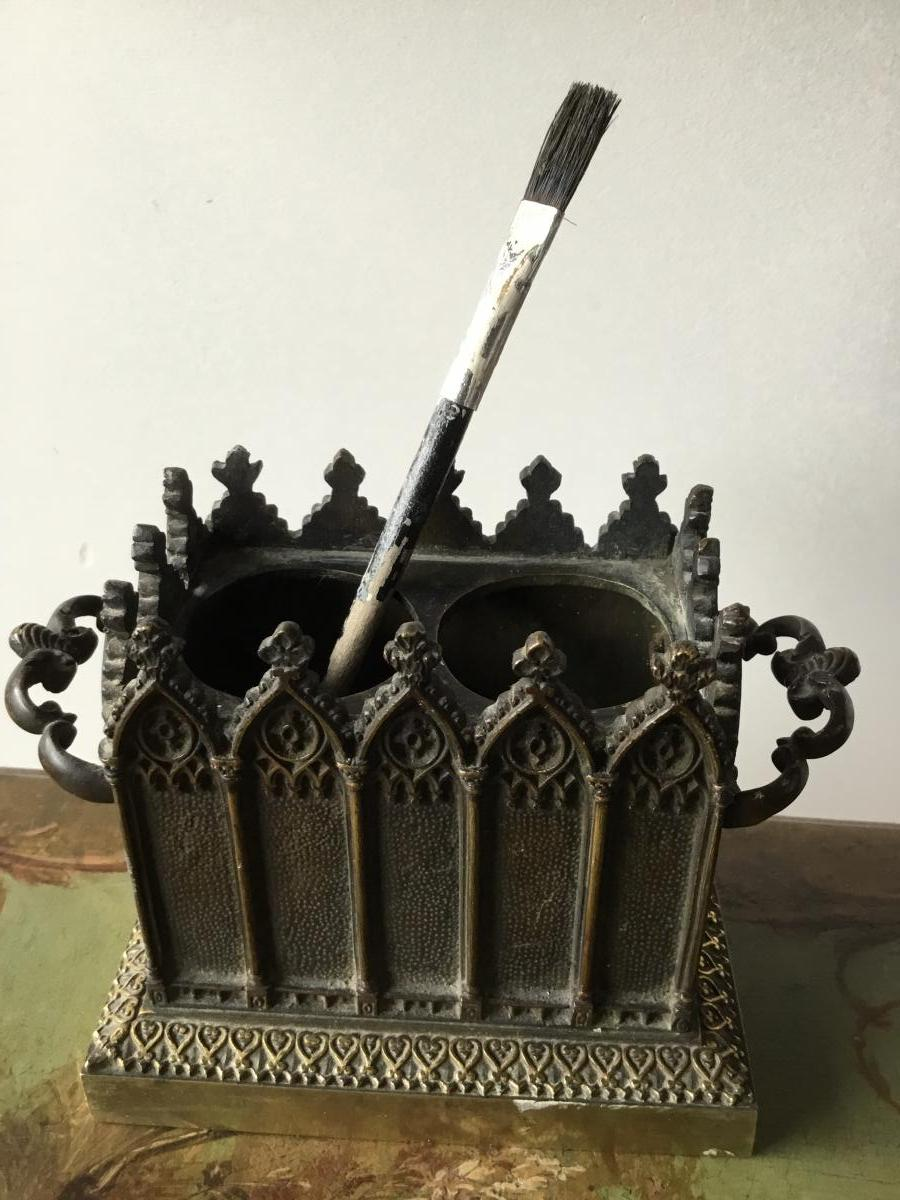 Porte Plumes En Bronze Décor Néo-gothique, Charles X