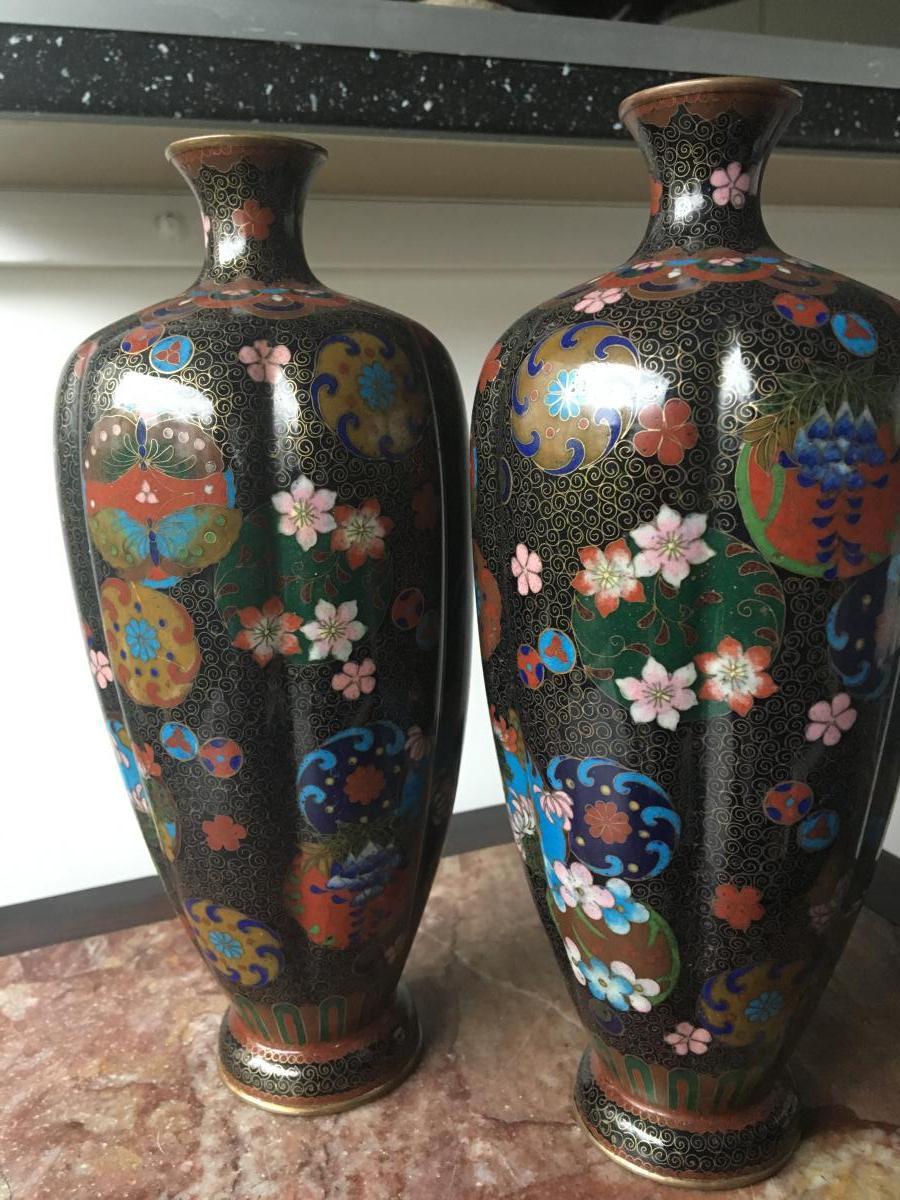 Paire De Vases Cloisonnés, Japon, Debut XXème