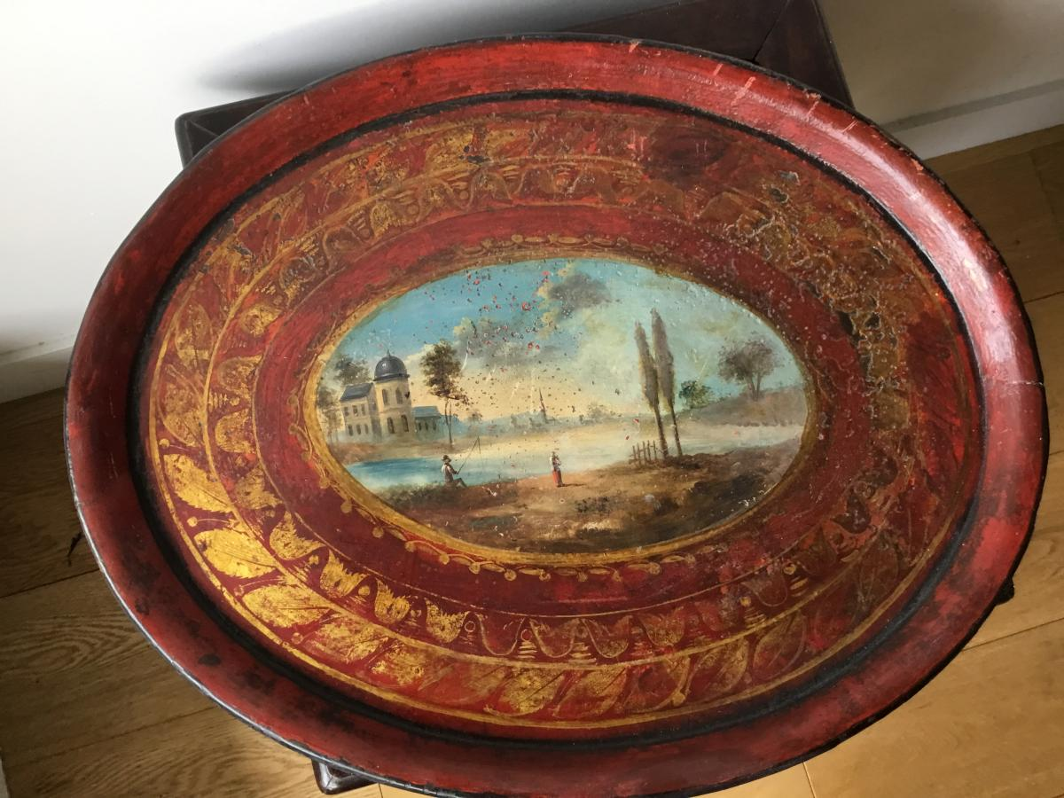 Tray In Painted Metal Early Nineteenth