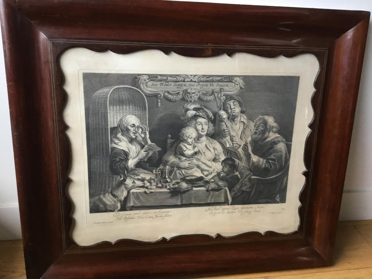 Gravure D'après Jordaens, Les Musiciens, Cadre Acajou, XIXème