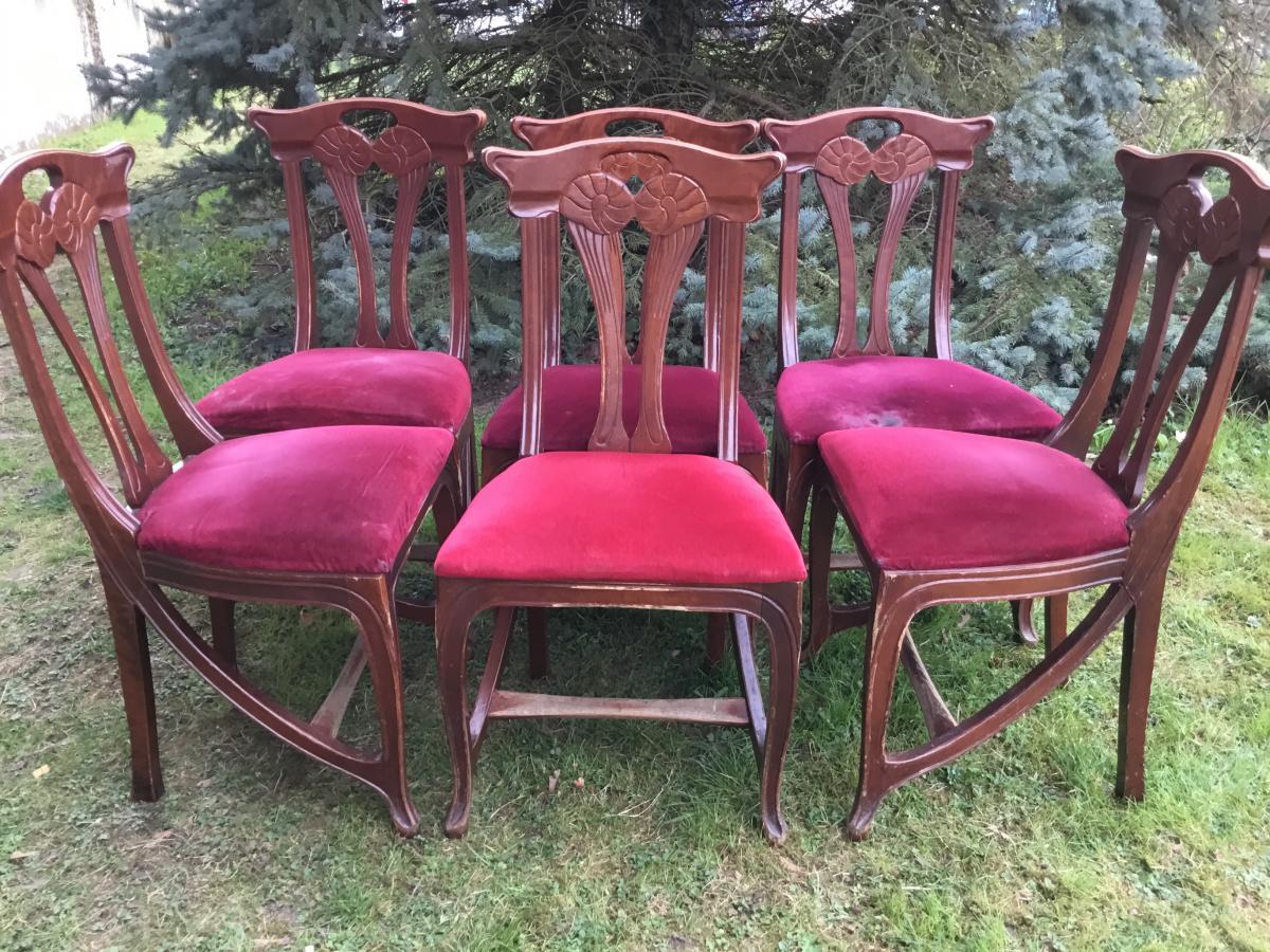 Suite De 6 Chaises Art Nouveau (12 Dispo) Dlg E. Gaillard