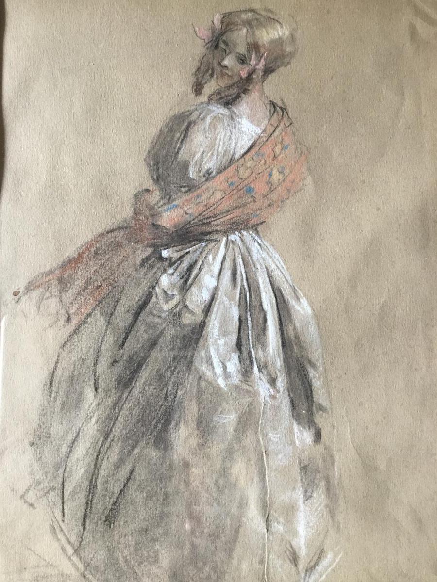 """Antoine Calbet 1860-1944. """"elégante Au Châle."""""""