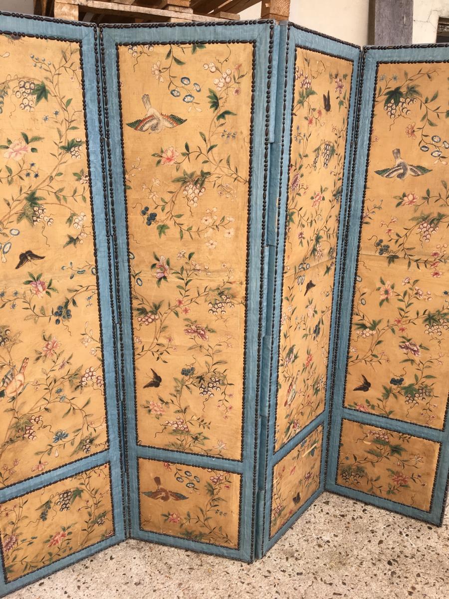 Paravent Peint Décor D'oiseaux, XVIII ème