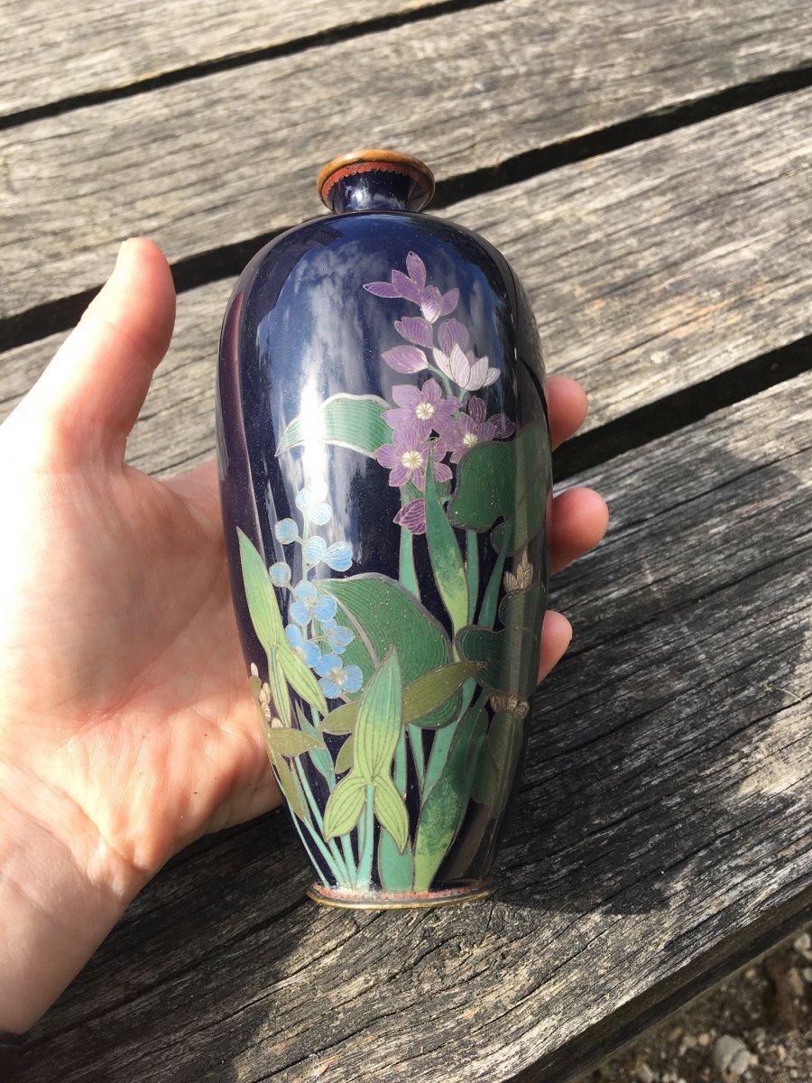 Vase Cloisonné Japonais Décor De Fleurs Et Feuilles De Lotus époque Edo-photo-5