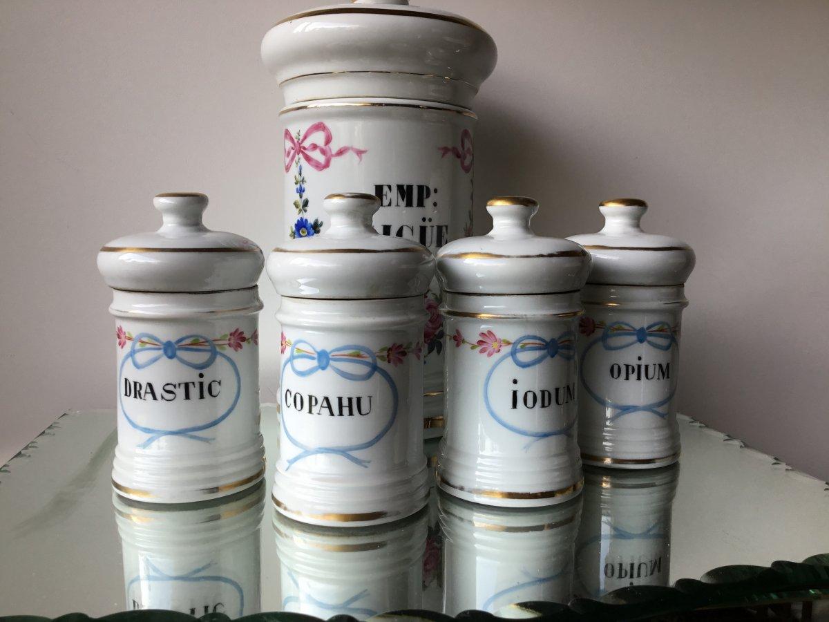 Les 4 Petits Pots De Pharmacie , époque Napoléon III