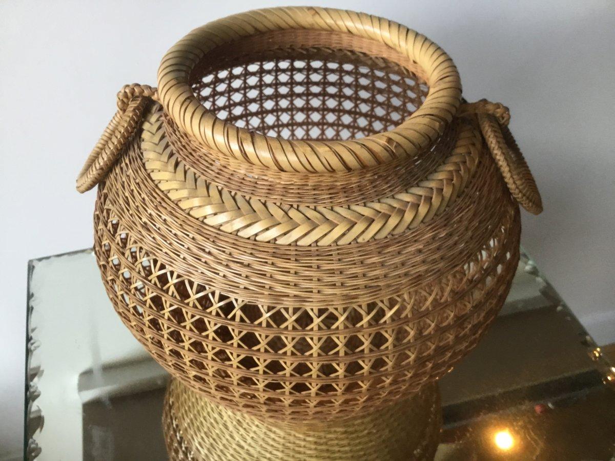 Vase à Ikebana , Rotin Tressé, Signé, Japon-photo-3