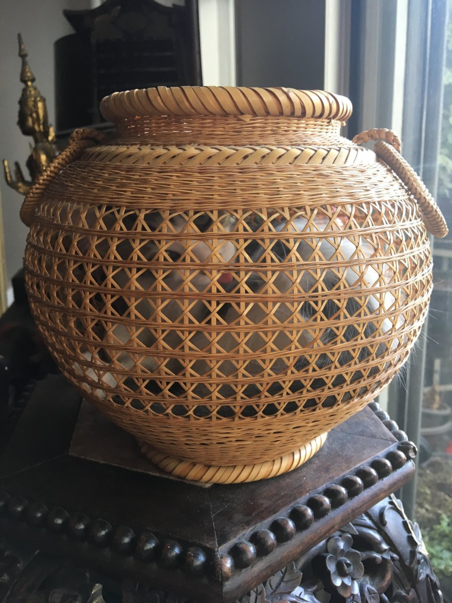 Vase à Ikebana , Rotin Tressé, Signé, Japon-photo-1