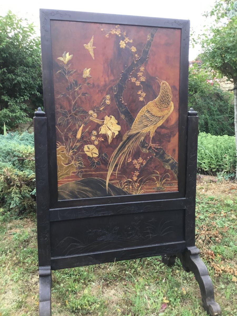 Large Screen Lacquered Wood Japonisant, Dlg De Viardot