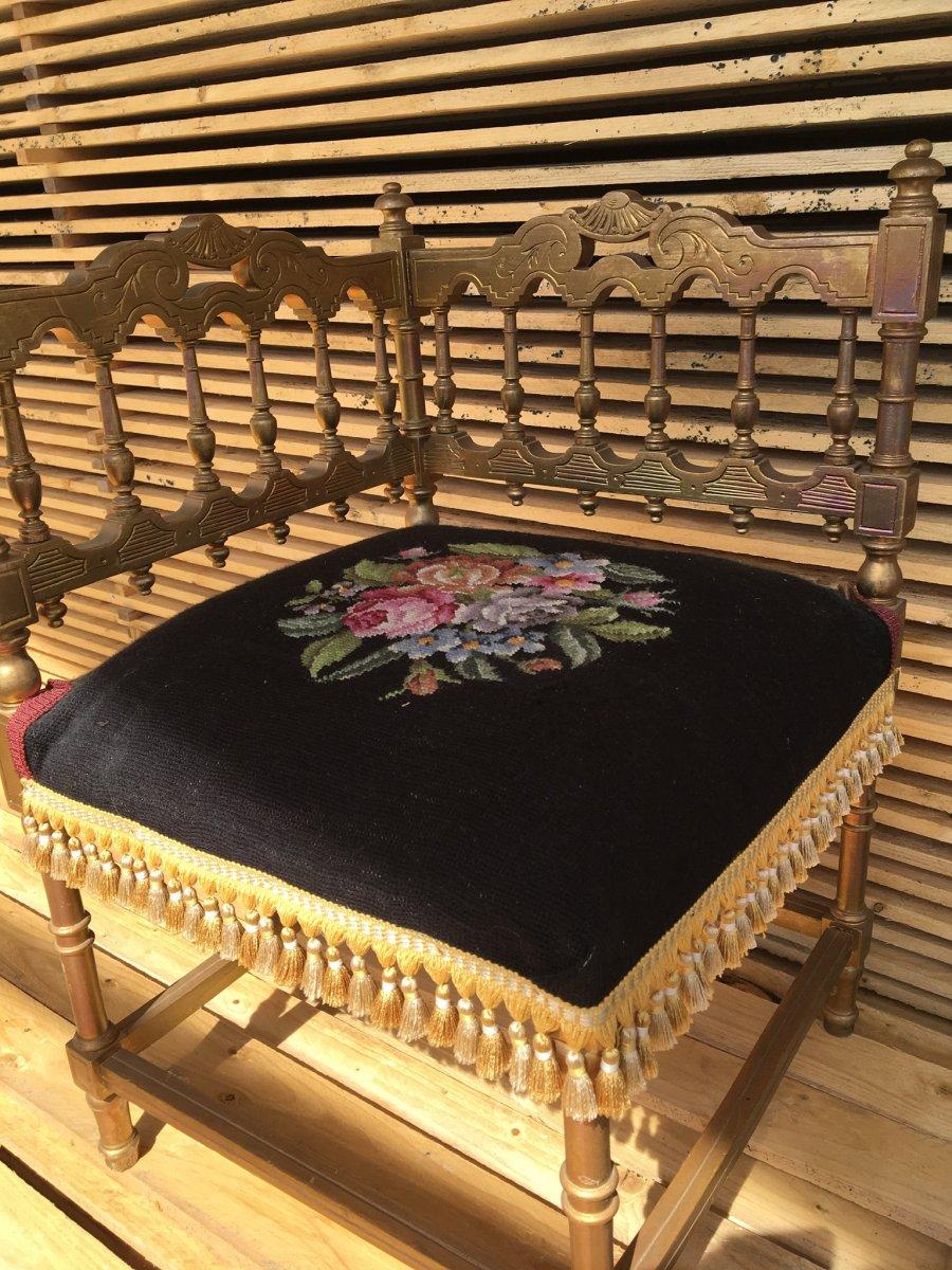 Oriental Style Corner Armchair In Golden Wood, Napoleon III