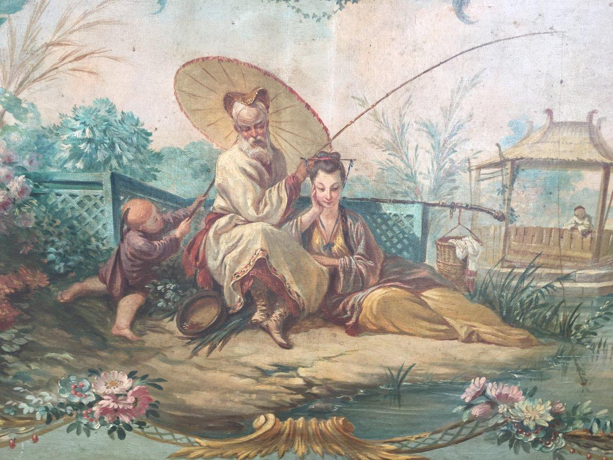 Chinoiseries, Couple S'adonnant à La Pêche, Hst, XIXème