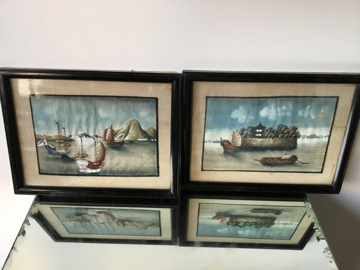 La Paire De Petites Peintures Sur Papier De Riz, Canton , XIXème