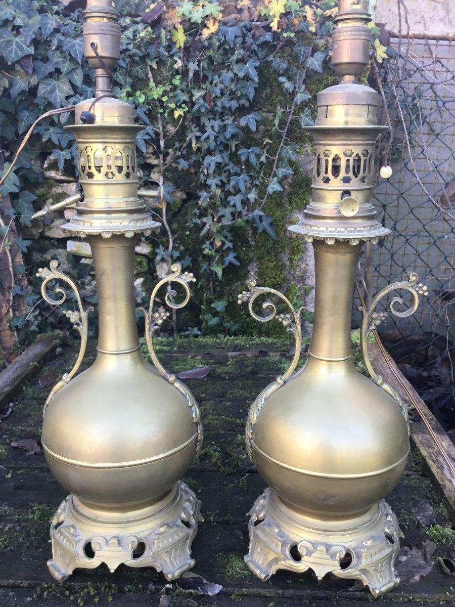 Paire De Grandes Lampes à Pétrole En Laiton Doré,  Napoléon III