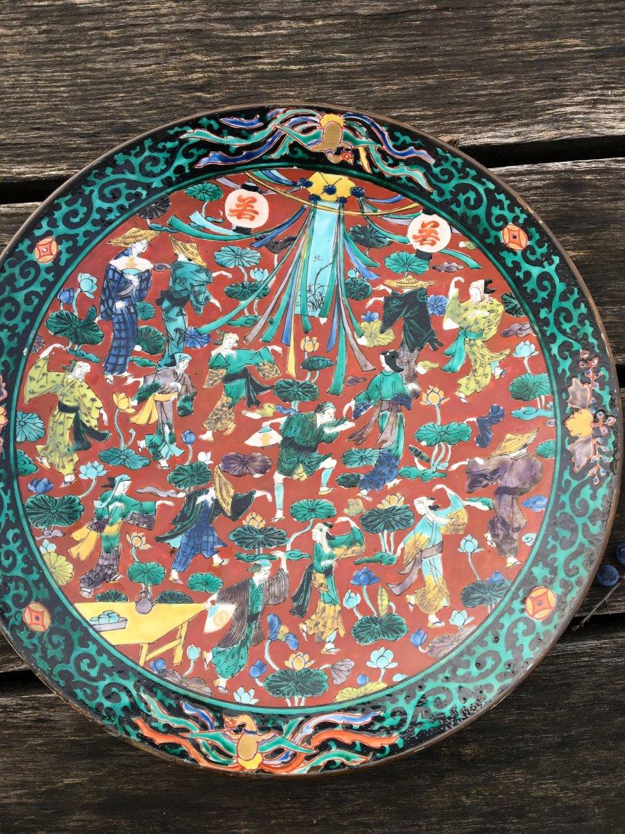 Japon, Plat De Kutani à Décor De Fête Traditionnelle , Époque Edo