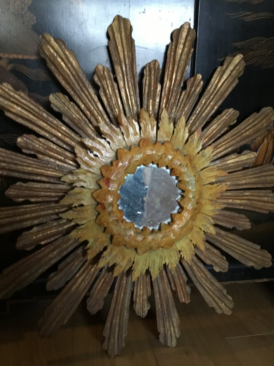 Large Wooden Sun Mirror With Three Patinas