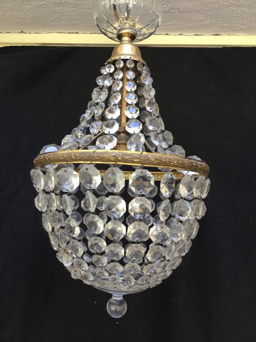 Petit Plafonnier à Perles Taillées En Diamant, Napoléon III