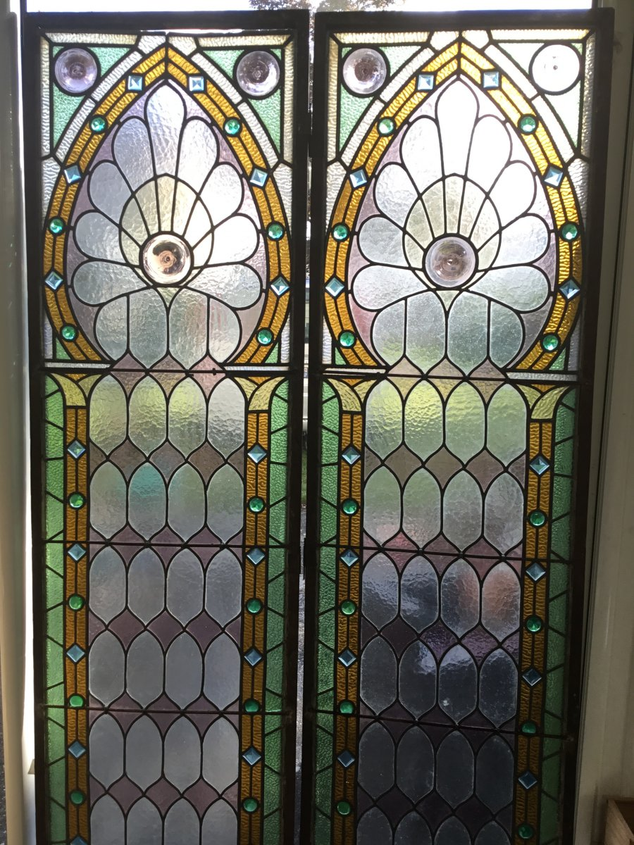 Stained Glass, Pair Of Art Deco Stained Glass, American Glass Dlg From Tiffany