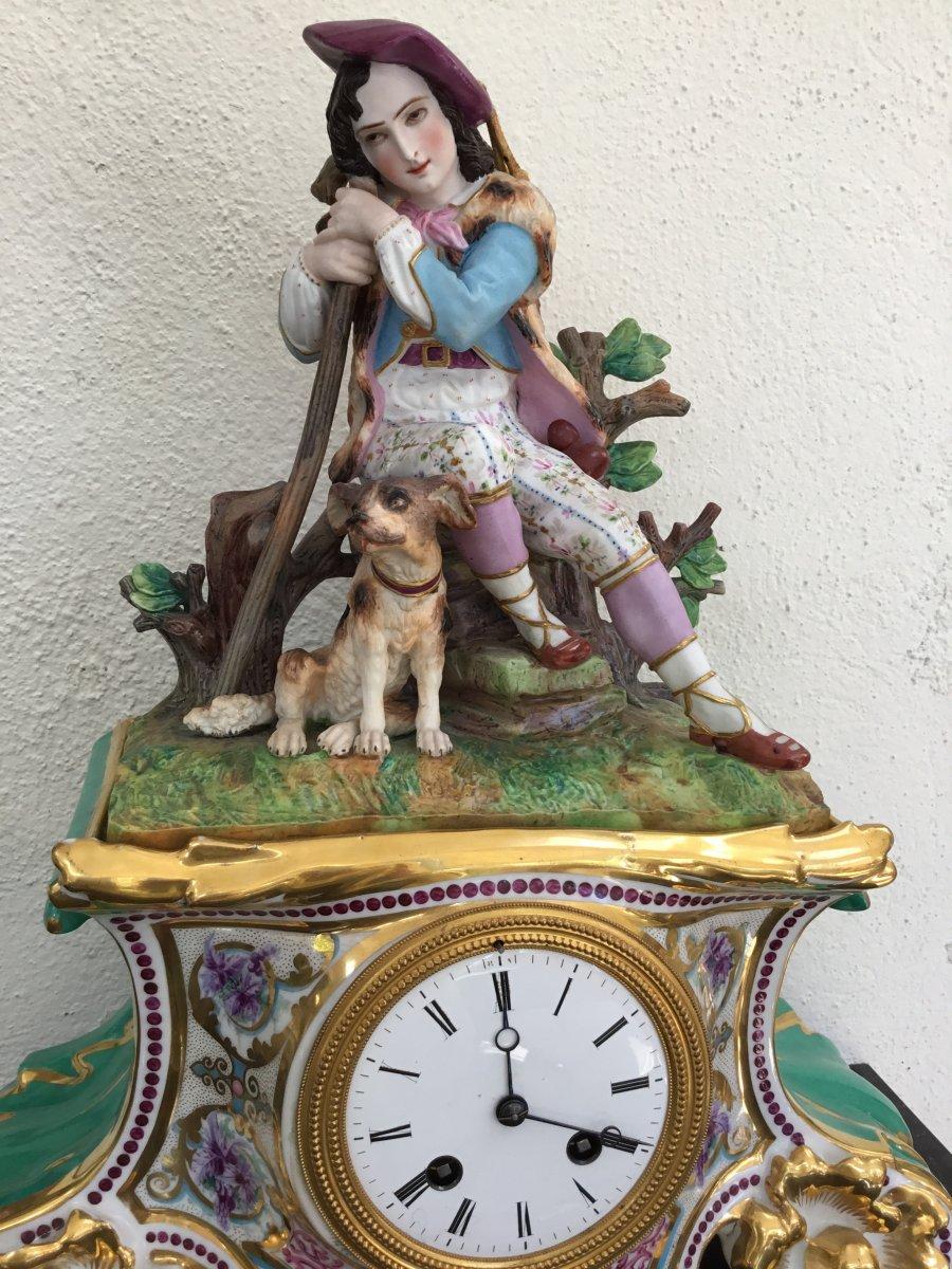 Pendule Romantique Porcelaine Et Biscuit