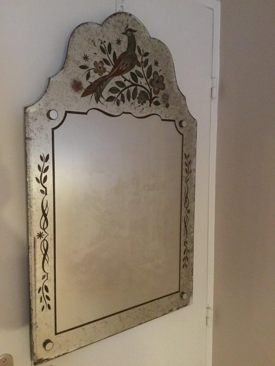 Miroir En Verre églomisé à L'oiseau De Paradis