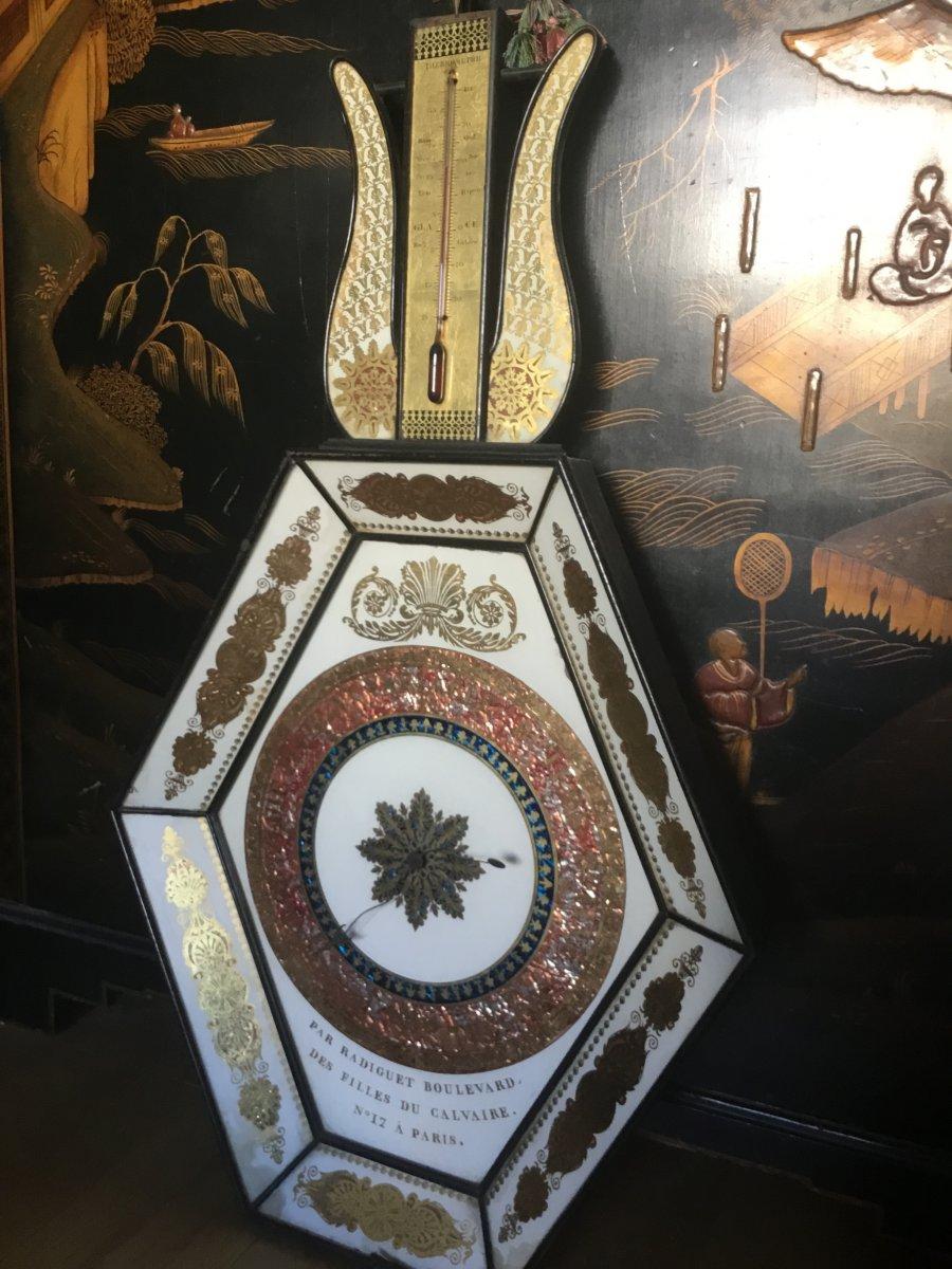 Baromètre-thermomètre Hexagonal , Verre églomisé, Ép Restauration