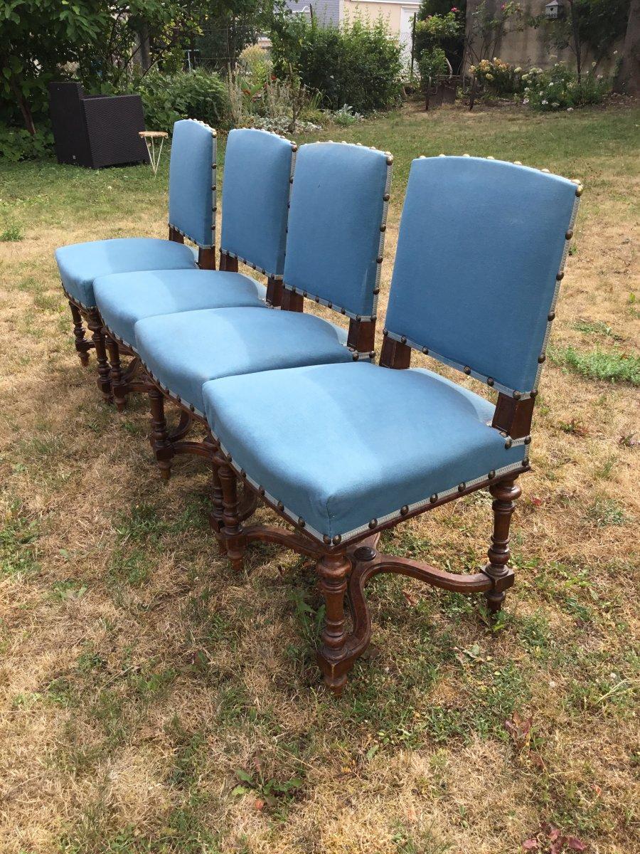 Suite De 4 Chaises De Style Louis XIII En Noyer-photo-4