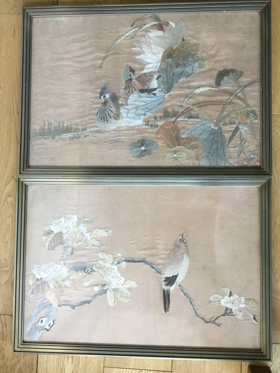 Pair Of Framed Silk Embroidery, Japan, Circa 1900