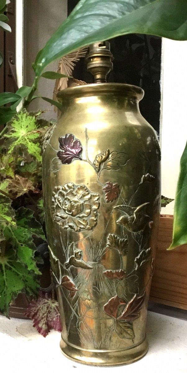 Japon - Époque Meiji Grand Vase En Bronze à 3 Patines