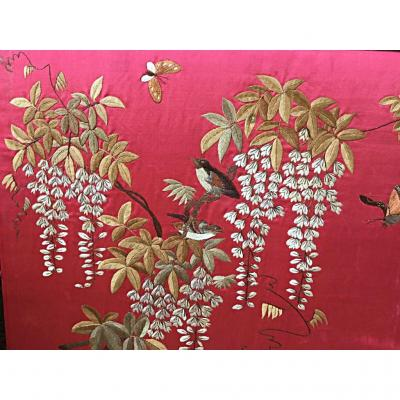 Embroidery With Birds And Glycine, China, Nineteenth