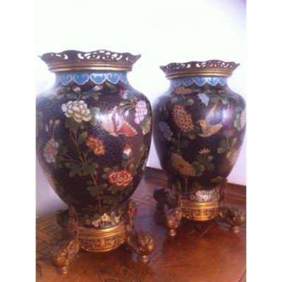 Paire De Vases En Bronze Cloisonné De Chine, XIXéme