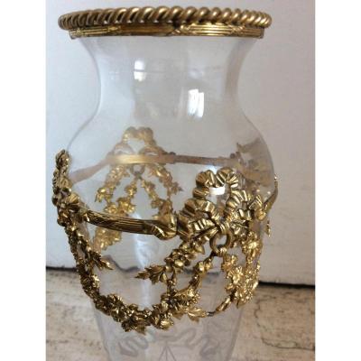Vase Cristal Monture Bronze Dorée
