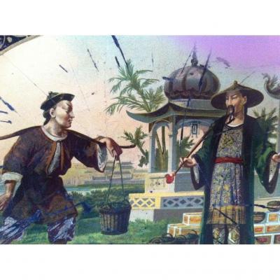 Grand Plateau Tôle , Décor Au Chinois , XIXème