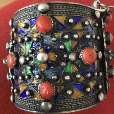 Bracelet Kabyle Berber Silver, Coral And Enamel Nineteenth