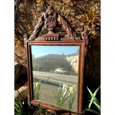 Miroir à Fronton, XIXème , En Bois Naturel