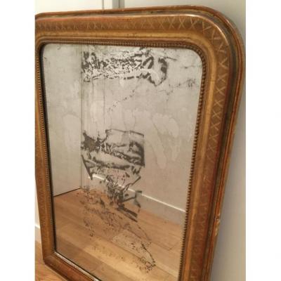 Miroir Louis Philippe En Bois Doré Glace au Mercure H111 Cm