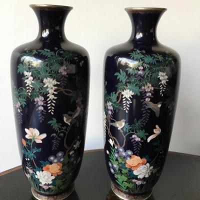 Paire de vases cloisonnés, monté Argent, JAPON, 1900